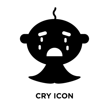 Cry icon vector isolated on white background, logo concept of Cry sign on transparent background, filled black symbol