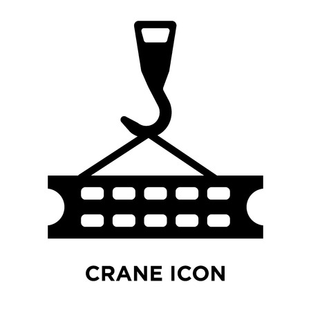 Crane icon vector isolated on white background, logo concept of Crane sign on transparent background, filled black symbol
