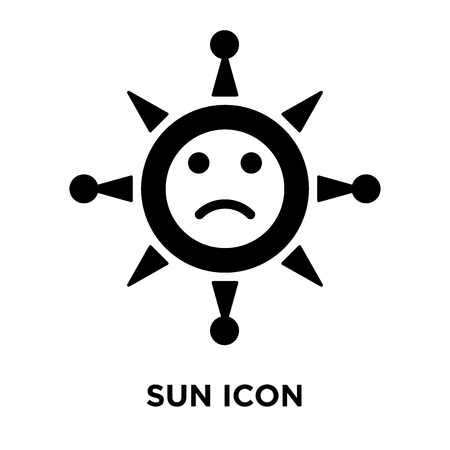 Sun icon vector isolated on white background, logo concept of Sun sign on transparent background, filled black symbol