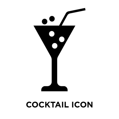 Cocktail icon vector isolated on white background, logo concept of Cocktail sign on transparent background, filled black symbol