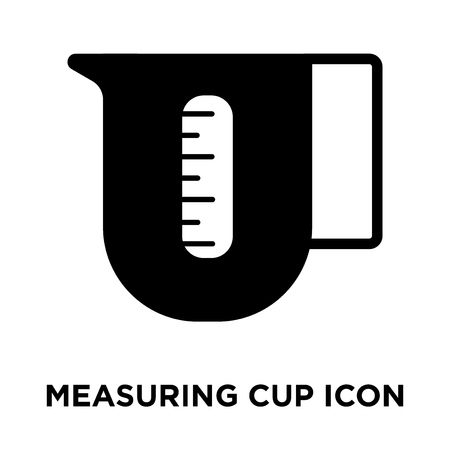 Measuring cup icon vector isolated on white background, logo concept of Measuring cup sign on transparent background, filled black symbol Stock Illustratie