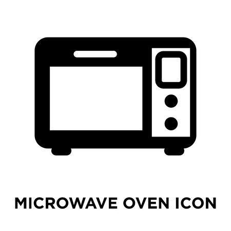 Microwave oven icon vector isolated on white background, logo concept of Microwave oven sign on transparent background, filled black symbol Illustration