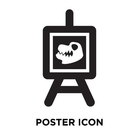 Poster icon vector isolated on white background, logo concept of Poster sign on transparent background, filled black symbol Illustration