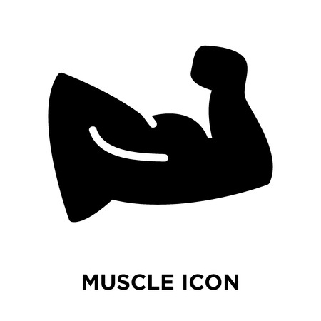 白い背景に分離された筋肉アイコンベクトル、透明な背景に筋肉のサインのロゴの概念、黒いシンボルを塗りつぶした