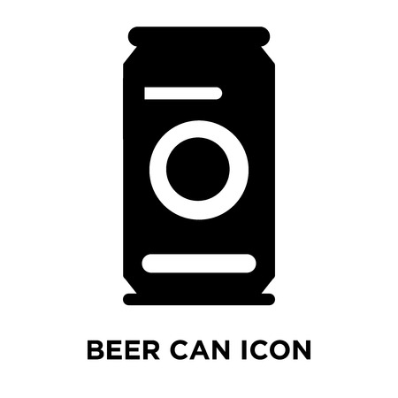Beer can icon vector isolated on white background, logo concept of Beer can sign on transparent background, filled black symbol Vectores