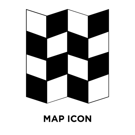 Map icon vector isolated on white background, logo concept of Map sign on transparent background, filled black symbol