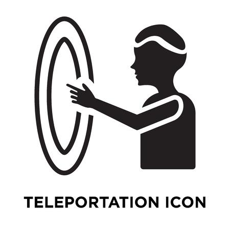 Teleportatie pictogram vector geïsoleerd op een witte achtergrond, logo concept van teleportatie teken op transparante achtergrond, gevuld zwart symbool