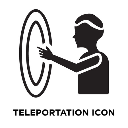 Teleportation icon vector isolated on white background, logo concept of Teleportation sign on transparent background, filled black symbol