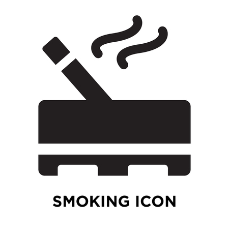 Smoking icon vector isolated on white background, logo concept of Smoking sign on transparent background, filled black symbol