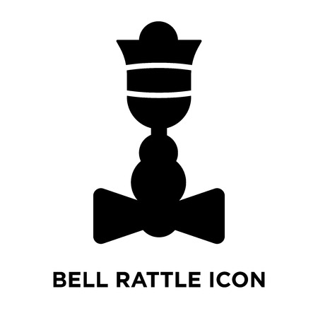 Bell Rattle icon vector isolated on white background, logo concept of Bell Rattle sign on transparent background, filled black symbol