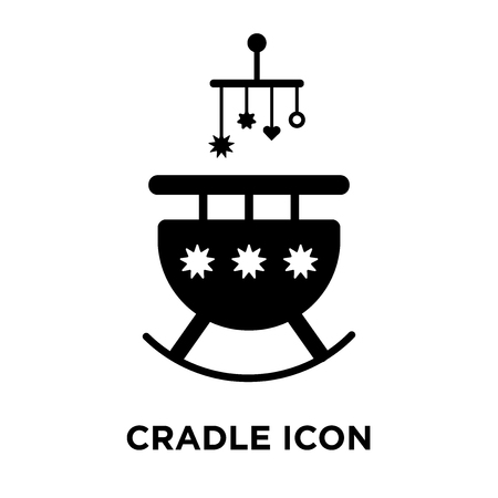 Cradle icon vector isolated on white background, logo concept of Cradle sign on transparent background, filled black symbol Illustration