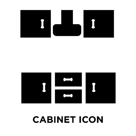 Cabinet icon vector isolated on white background, logo concept of Cabinet sign on transparent background, filled black symbol