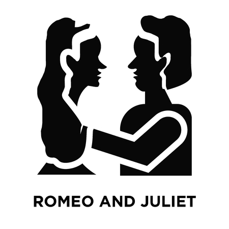 Romeo and juliet icon vector isolated on white background, logo concept of Romeo and juliet sign on transparent background, filled black symbol