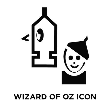 Czarnoksiężnik z Oz wektor ikona na białym tle, koncepcja logo znaku Czarnoksiężnika z Oz na przezroczystym tle, wypełniony czarnym symbolem
