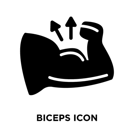 Biceps icon vector isolated on white background, logo concept of Biceps sign on transparent background, filled black symbol Ilustrace