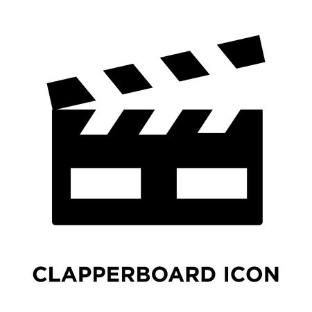 Clapperboard icon vector isolated on white background, logo concept of Clapperboard sign on transparent background, filled black symbol Vettoriali