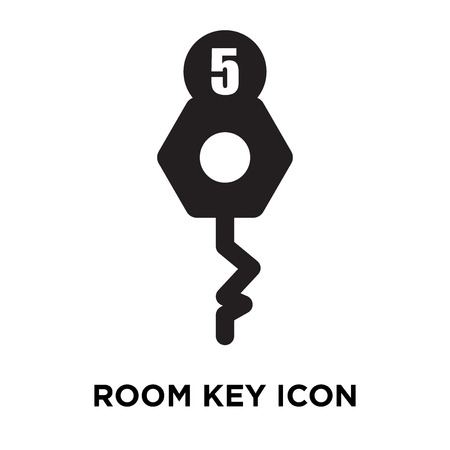 Room key icon vector isolated on white background, logo concept of Room key sign on transparent background, filled black symbol