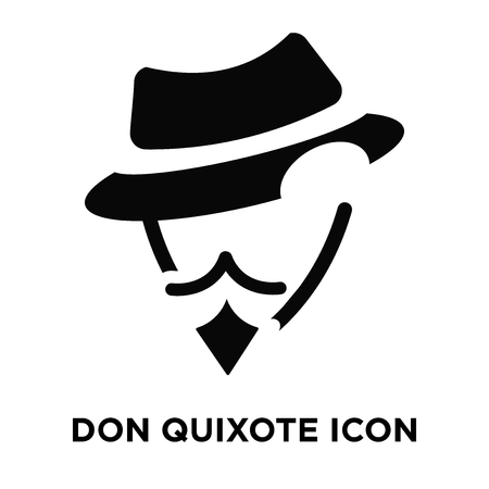 Don quixote icon vector isolated on white background, logo concept of Don quixote sign on transparent background, filled black symbol Vectores