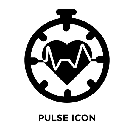 Pulse icon vector isolated on white background, logo concept of Pulse sign on transparent background, filled black symbol Stock Illustratie