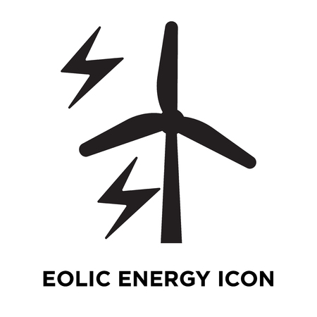 Eolic energy icon vector isolated on white background, logo concept of Eolic energy sign on transparent background, filled black symbol