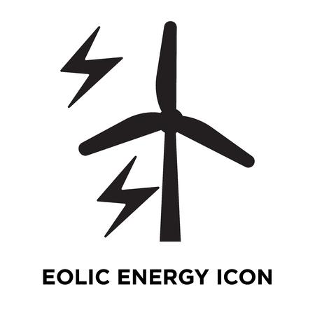 Eolic energy icon vector isolated on white background, logo concept of Eolic energy sign on transparent background, filled black symbol