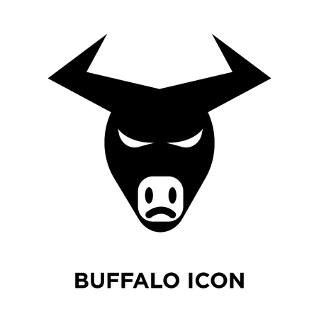 Buffalo icon vector isolated on white background, logo concept of Buffalo sign on transparent background, filled black symbol