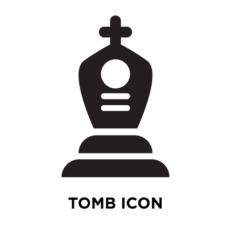 Tomb icon vector isolated on white background, logo concept of Tomb sign on transparent background, filled black symbol Illustration