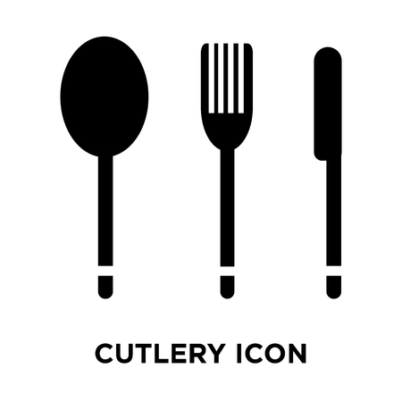 Cutlery icon vector isolated on white background, logo concept of Cutlery sign on transparent background, filled black symbol 矢量图像