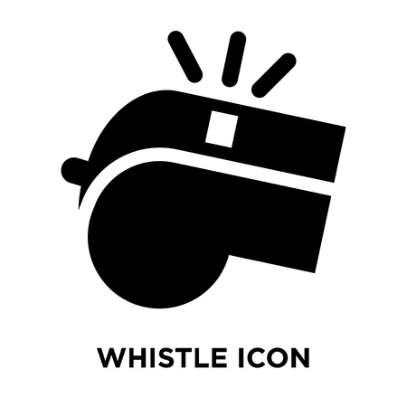 Whistle icon vector isolated on white background, logo concept of Whistle sign on transparent background, filled black symbol