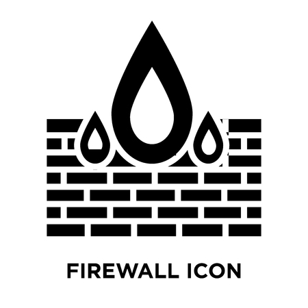 Firewall icon vector isolated on white background, logo concept of Firewall sign on transparent background, filled black symbol 矢量图像