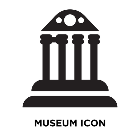 Museum icon vector isolated on white background, logo concept of Museum sign on transparent background, filled black symbol Illustration