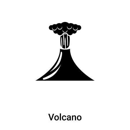 Vulkanikonenvektor lokalisiert auf weißem Hintergrund, gefülltes schwarzes Symbol Vektorgrafik