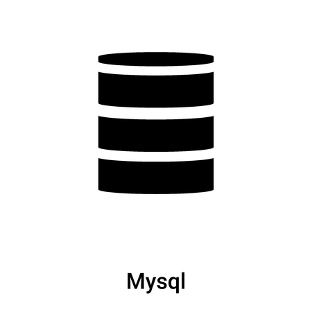 Mysql icon vector isolated on white background, filled black symbol