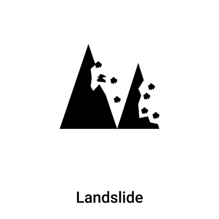 Landslide icon vector isolated on white background, logo concept of Landslide sign on transparent background, filled black symbol