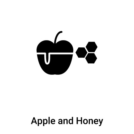 Apple and Honey icon vector isolated on white background, filled black symbol Illustration