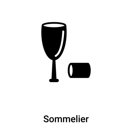 Sommelier icon vector isolated on white background, concept of Sommelier sign on transparent background, filled black symbol Çizim