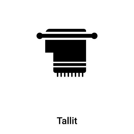 Tallit icon vector isolated on white background, filled black symbol