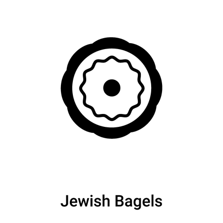 Jewish Bagels icon vector isolated on white background, filled black symbol