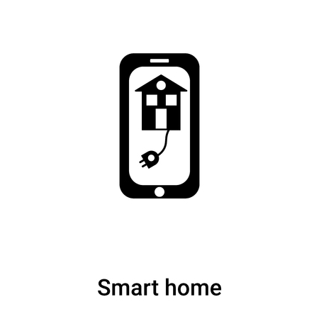 Smart home icon vector isolated on white background,  filled black symbol