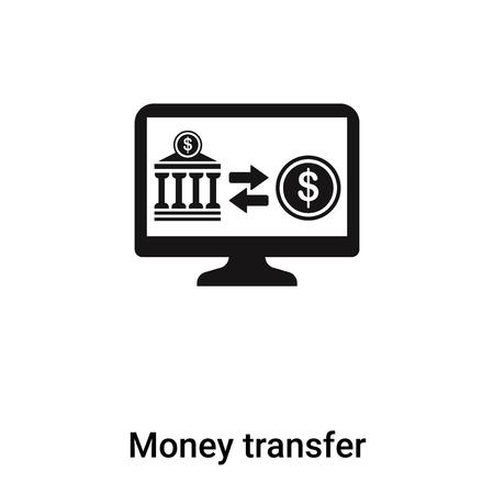 Trasferimento di denaro icona vettoriale isolato su sfondo bianco, logo concetto del segno di trasferimento di denaro su sfondo trasparente, riempita simbolo nero