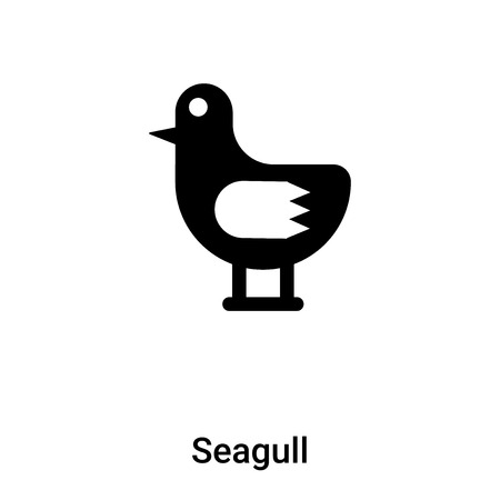 Seagull icon vector isolated on white background,  filled black symbol Illustration