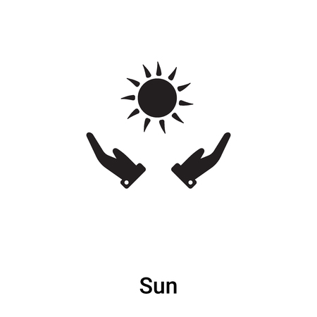 Sun icon vector isolated on white background,  filled black symbol