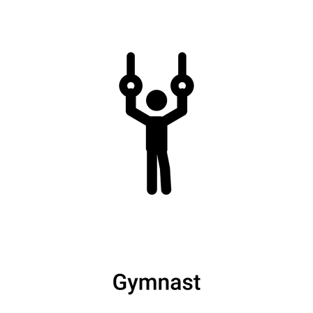 Gymnast icon vector isolated on white background, filled black symbol Vettoriali