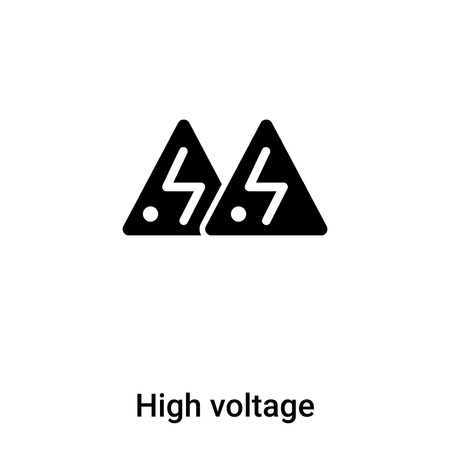 High voltage icon vector isolated on white background, filled black symbol Stock Illustratie