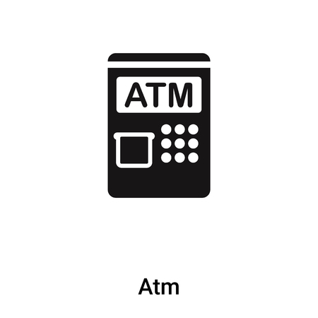 Atm icon vector isolated on white background, filled black symbol