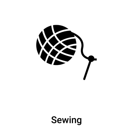 Sewing icon vector isolated on white background, filled black symbol