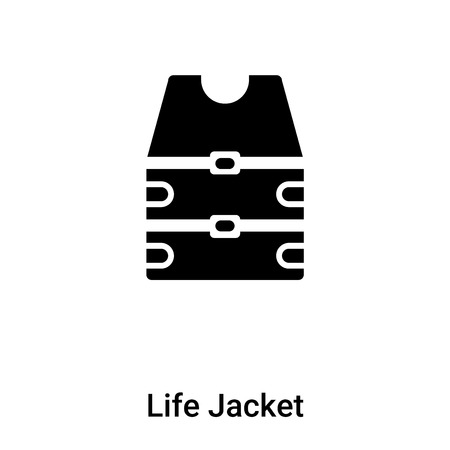 Life Jacket icon vector isolated on white background filled black symbol Ilustração