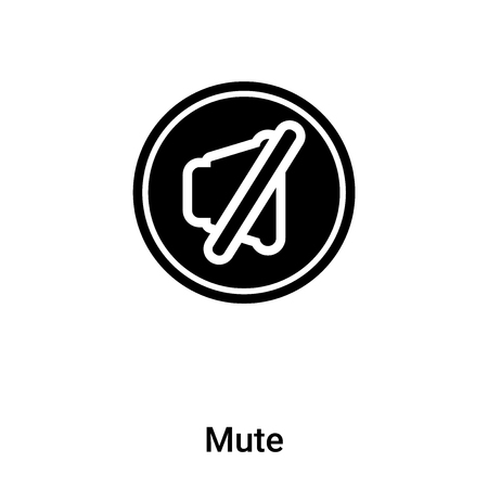 Mute icon vector isolated on white background filled black symbol