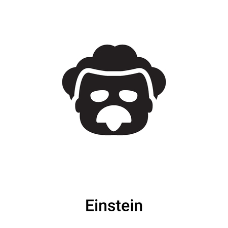 Einstein icon vector isolated on white background,  filled black symbol Illustration