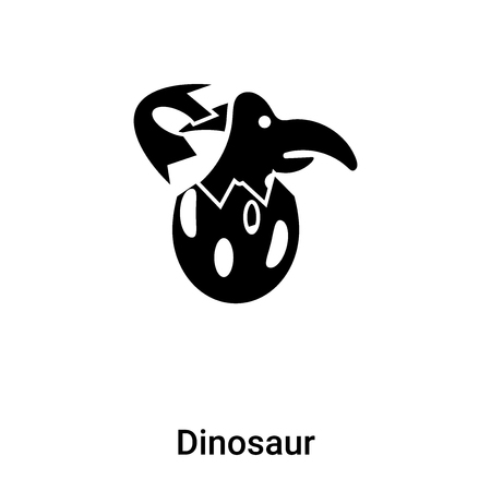 Dinosaur icon vector isolated on white background filled black symbol